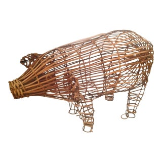 Vintage Wicker Decorative Pig Metal Art For Sale