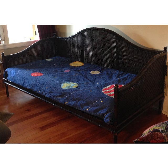 Wicker Faux Bamboo Crate and Barrel Day Bed - Image 6 of 7