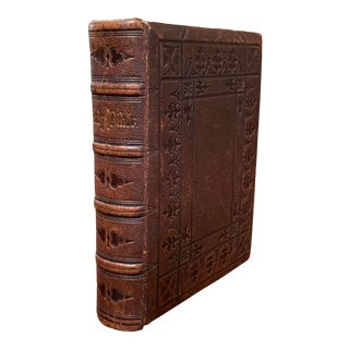 19th Century English Leather-Bound Holy Bible Dated 1866 For Sale