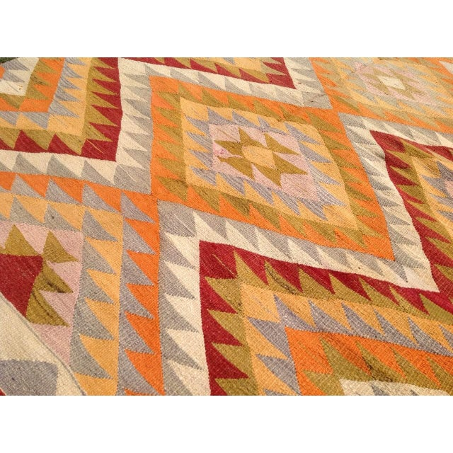 "Vintage Turkish Kilim Rug - 4'8"" x 7'4"" For Sale In Raleigh - Image 6 of 7"