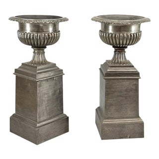 One Pair Very Stately 19th Century English Urns on Stands, Brushed Steel Finish For Sale