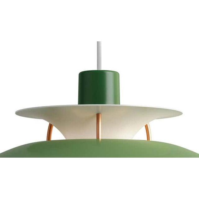 Poul Henningson green PH5 mini pendants for Louis Poulsen. Poul Henningsen originally introduced the full-sized PH 5...