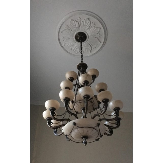 Mariner S.A. Spain - Bronze and Alabaster Chandelier Beautiful ornate Detail on Arms. 21 Lights