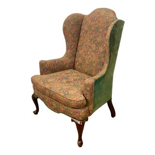 Vintage Mahogany Frame Chippendale Style Upholstered Wingback Chair For Sale