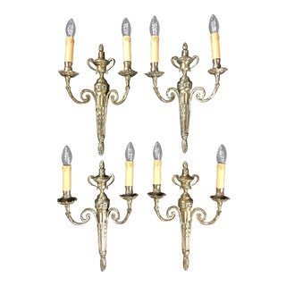 19th Century Louis XVI Style Two-Armed Bronze Sconces- Set of 4 For Sale