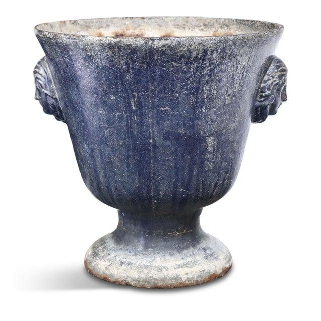 Large Blue Enameled Rouen Urn For Sale - Image 9 of 9