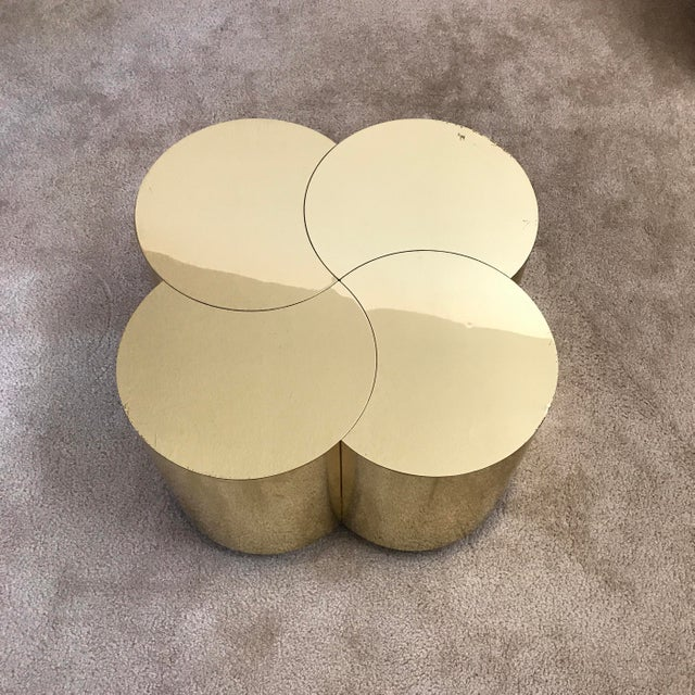 Curtis Jere Curtis Jeré Mid-Century Modern Brass Clover Table For Sale - Image 4 of 13