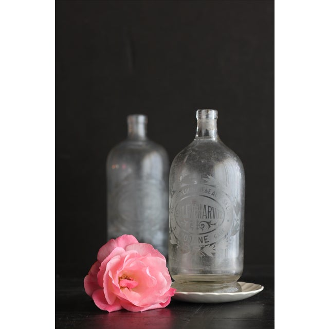 French Vintage French Etched Lemonade Bottle For Sale - Image 3 of 4