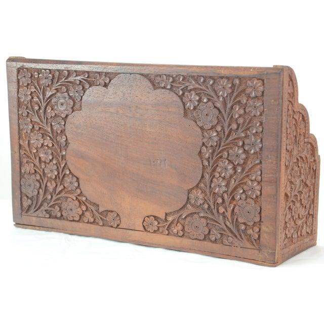 Carved Wood & Bone Letter Holder For Sale - Image 4 of 9
