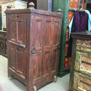 Antique Bar Almirah Red Cabinet Vintage Indian Armoire on Wheels Preview