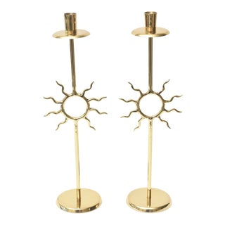 Brass Fornasetti Style Candlesticks Vintage - A Pair For Sale