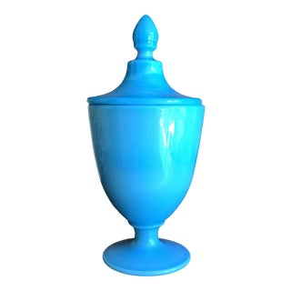 French Blue Opaline Footed Urn With Lid For Sale
