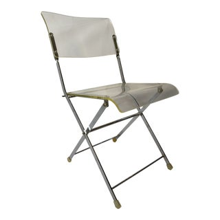 1970s Lucite and Chrome 'Cafe' Folding Chair For Sale