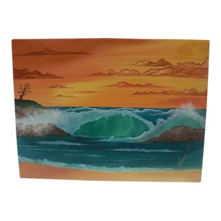 """Crashing Waves Seascape at Sunset"" Painting For Sale"