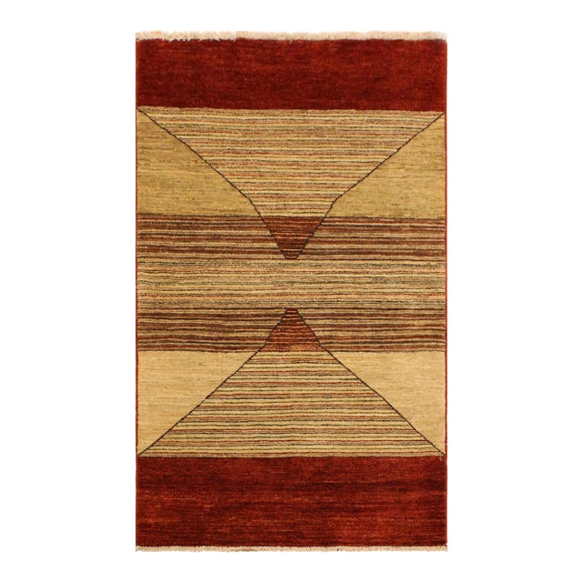 Shabby Chic Gabbeh Peshawar Karol Tan/Red Hand-Knotted Wool Rug -2'11 X 5'1 For Sale