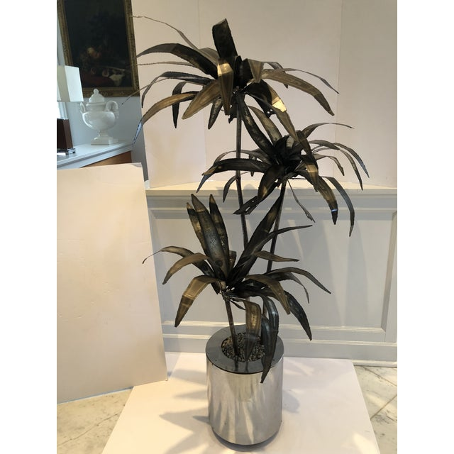 Mid-Century Brutalist Steel Cut Potted Palm Tree For Sale - Image 9 of 12