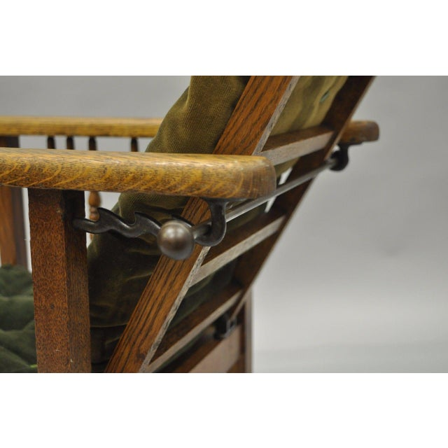 Small Antique Mission Oak Wood Childs Morris Reclining Lounge Arm Chair Recliner For Image