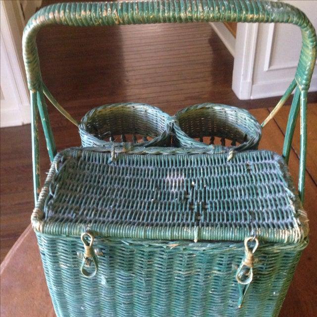 Vintage Green Wicker Picnic Basket - Image 10 of 11
