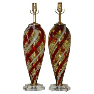 Vintage Italian Glass Teardrop Table Lamps Amber White For Sale