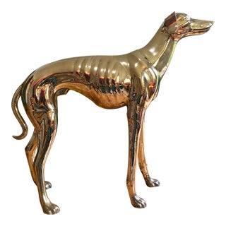 Life Size Vintage Brass Whippet Dog Statue For Sale
