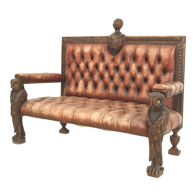 Rustic Continental 19th Century Walnut Carved Loveseat For Sale