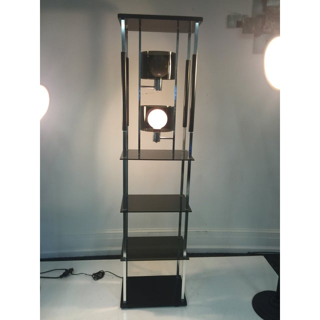 1970s Modernist Smoky Lucite and Chrome with Shelving Floor Lamp For Sale In Philadelphia - Image 6 of 7