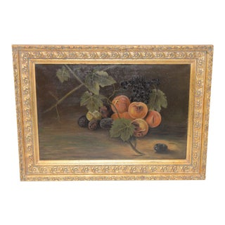 "19th Century ""Fruit Table"" Still Life Oil Painting For Sale"