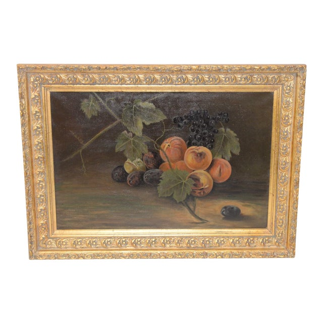 """19th Century """"Fruit Table"""" Still Life Oil Painting For Sale"""