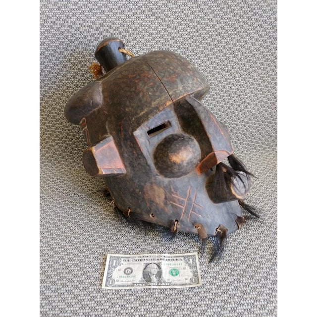 African Early 20th Century African Carved Wood Full Head Mask For Sale - Image 3 of 11