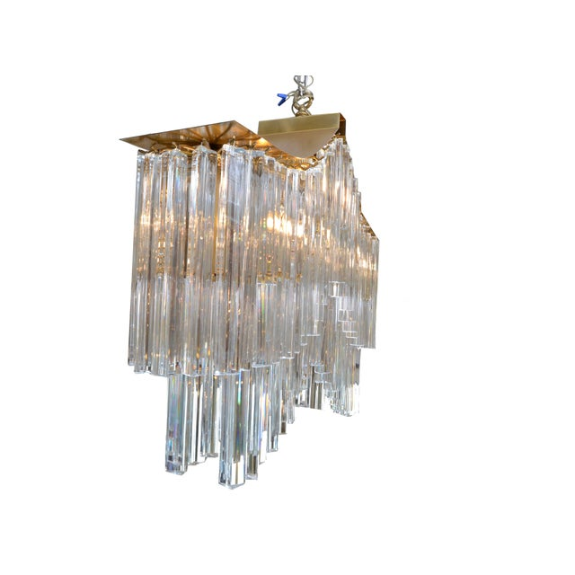 Pagoda Chandelier in Crystal and Brass For Sale - Image 11 of 13