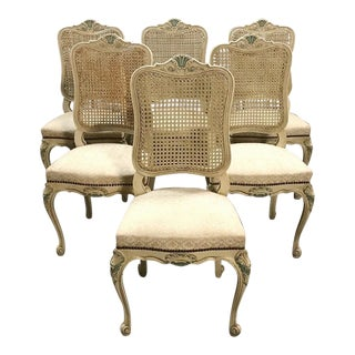 Set of 6 Antique French Louis XV Painted Dining Chairs For Sale