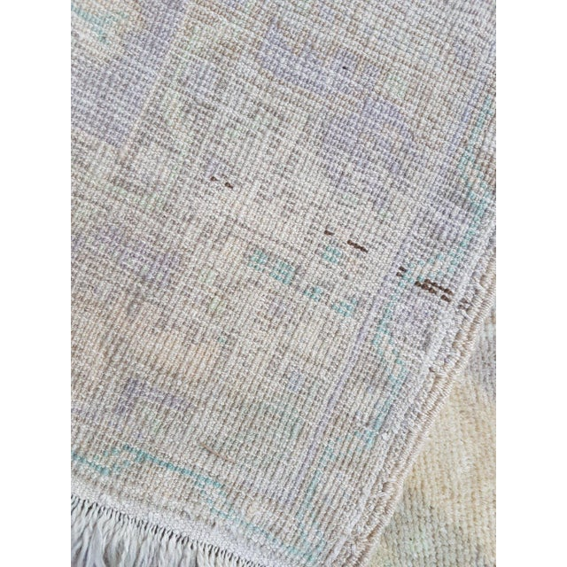 1970s 1970s Vintage Turkish Oushak Distressed Handmade Rug - 3′8″ × 5′8″ For Sale - Image 5 of 6