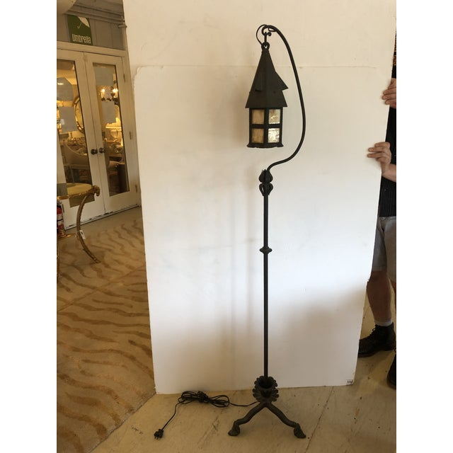 Arts & Crafts Mission Style Floor Lamp With Stained Glass For Sale - Image 4 of 11