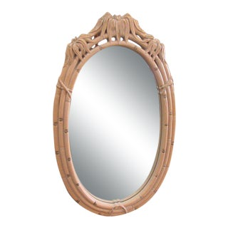 Oval Palm Leaf Faux Bamboo Mirror For Sale