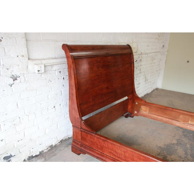 Wood Henredon Aged Cherry Wood Queen Size Sleigh Bed For Sale - Image 7 of 11