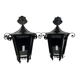 Large Single Bulb Indoor/Outdoor Wall Sconces - a Pair For Sale