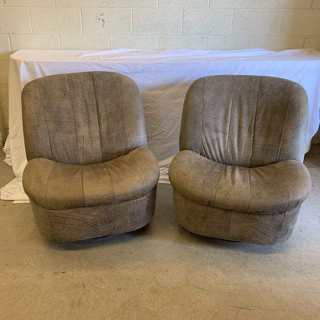 Kagan Style Leather Swivel Rocker Chairs - a Pair For Sale - Image 13 of 13