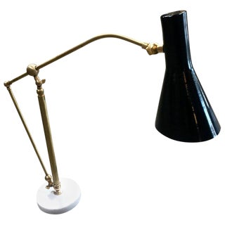 1950s Italian Adjustable Table Lamp in Brass and Carrara Marble For Sale
