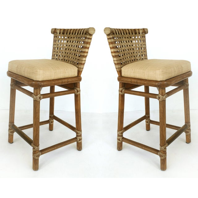 McGuire San Francisco Leather Bound Counter Stools W/ Raffia Seats - A Pair For Sale - Image 13 of 13