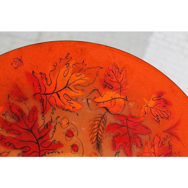 Sascha Brastoff Mid-Century Orange Leaves Enamel Charger - Image 7 of 11