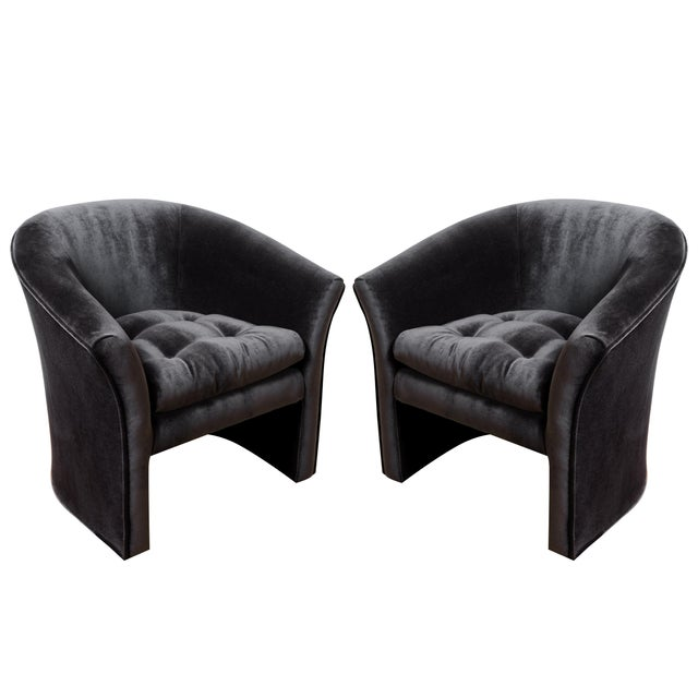 Mid-Century Modern Black Velvet Tub Barrel Chairs - a Pair For Sale - Image 9 of 9