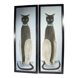 Vintage Mid-Century Cat Paintings - a Pair For Sale