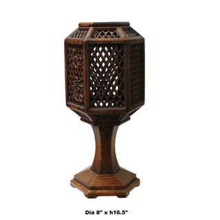 Chinese Hauli Rosewood Hexagon Shape Carving Table Lamp Candle Holder Preview