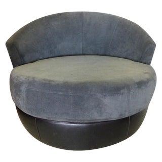 Milo Baughman Style Swivel Lounge Chair