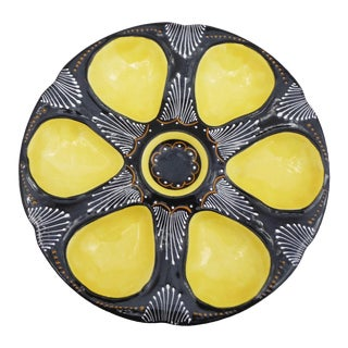 1940s French Faience Quimper Yellow Oyster Plate For Sale