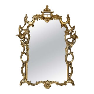 Gampel-Stoll Hollywood Regency Chinoiserie Mirror in Carved Giltwood For Sale