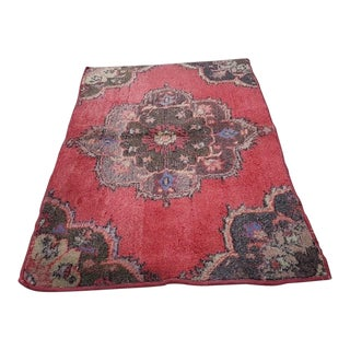 1970s Vintage Turkish Hand-Knotted Miniature Rug - 2′4″ × 3′3″ For Sale