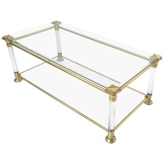 Crystal, Plexiglass and Brass Coffee Table, Italy, 1980s For Sale