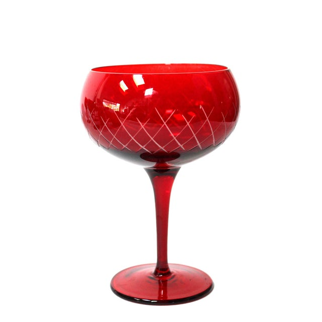 Vibrant ruby-red set of 8 hand-cut crystal stemmed goblets and matching 8 lowball glasses. Stunning color and condition....