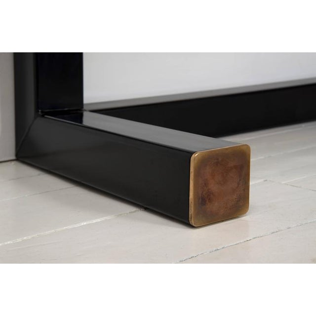 Belgian Contemporary Console Table, Using a J. Wabbes 1960's Wenge End-Grain Wood Top For Sale - Image 3 of 8